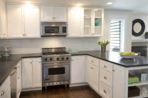 White Kitchen Cabinets Pinterest by White Cabinets Dark Countertops Kitchen Pinterest