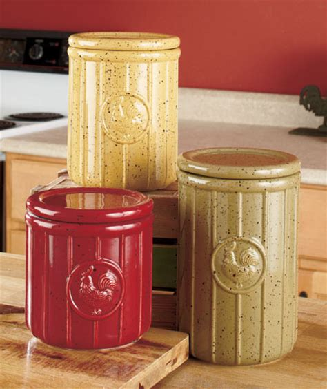 set of 3 speckled rooster canisters country kitchen
