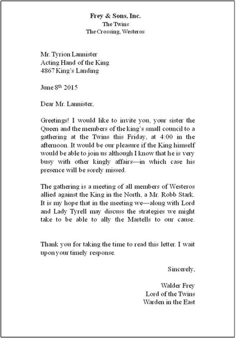 exle of a proper business letter format cover letter