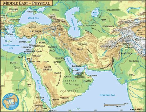 middle east map features physical map of middle east www pixshark images