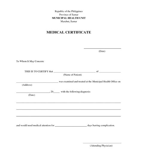 general medical certificate template for free free premium