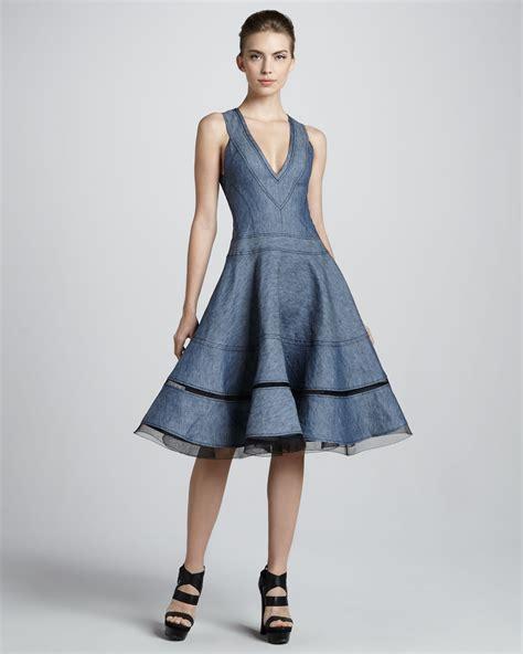 Dress Dona Denim donna karan denim fit and flare dress in blue lyst