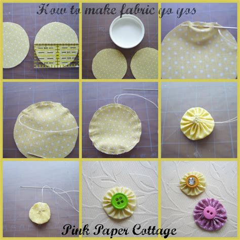 How To Make A Paper Yoyo - pink paper cottage fabric yo yo tutorial