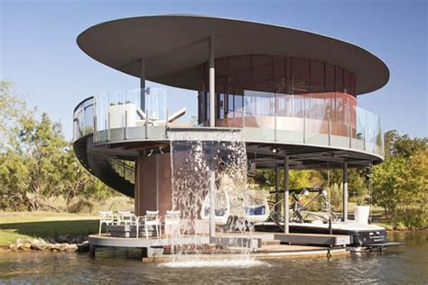 awesome floating house shore vista boat dock by bercy