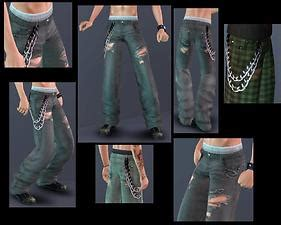 Baggy Ripped By Ganez Shop mod the sims worn out with chains unripped