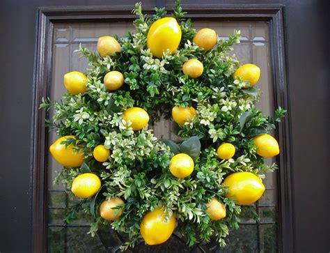 Kitchen Items With Lemons Lemon Wreath Lemon Kitchen Decor Boxwood Wreath