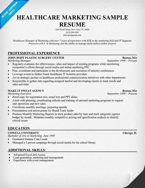 Healthcare Resumes Exles by Healthcare Marketing Resume Sle Http Resumecompanion Health Career Resume Sles
