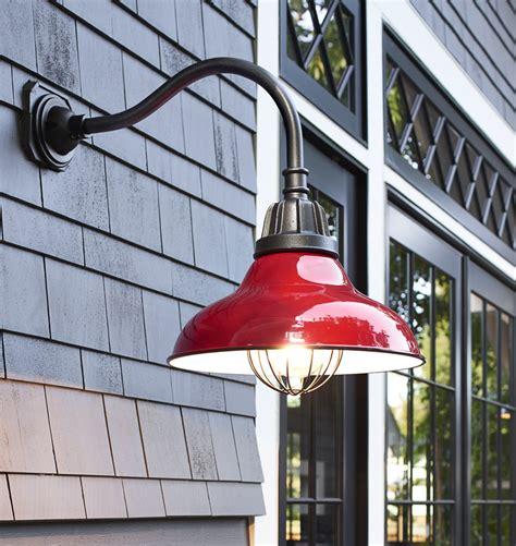 red outdoor light fixture carson gooseneck wall mount rejuvenation