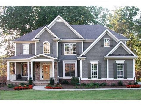 Craftsman House Plan Light Grey House Medium Grey Shutters Dream Home
