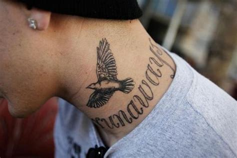 picture of tattoos picture of flying dove on the neck
