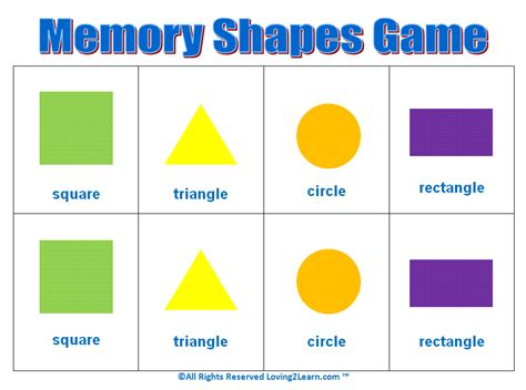 printable shapes matching game kids matching games memory shapes game