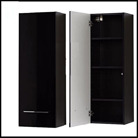 cool wall mounted cabinet in high gloss black with 1 door