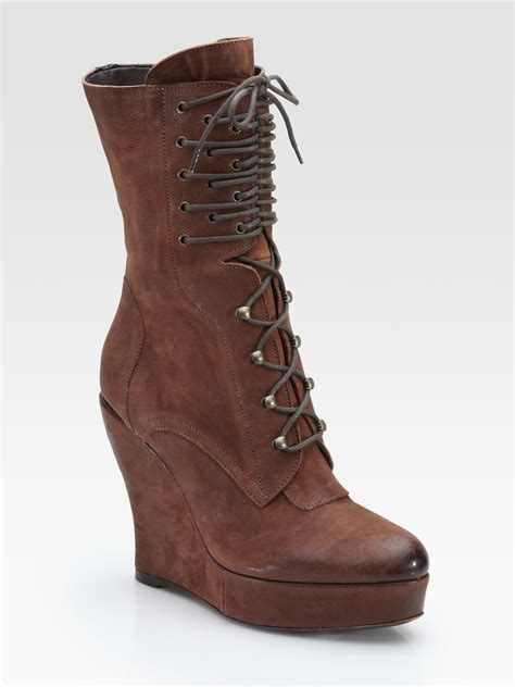 lace up wedge boots boutique 9 bojana leather lace up wedge boots in brown