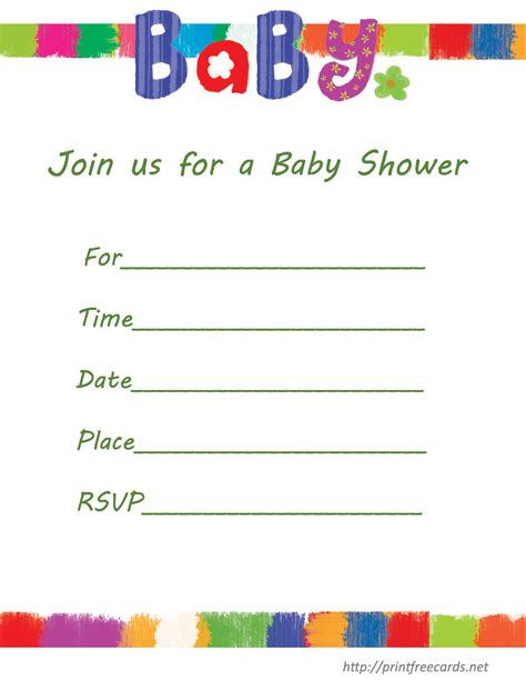 baby shower templates printable free printable baby shower invitations templates