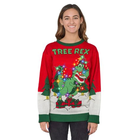 light up ugly christmas sweater the tree isnt the only thing getting lit s tree rex light up t rex sweater