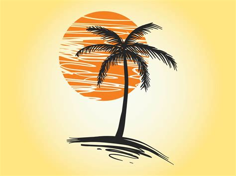 sunset palm vector vector art graphics freevectorcom
