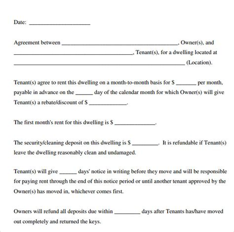 printable lease agreement template printable lease agreement 8 documents for free