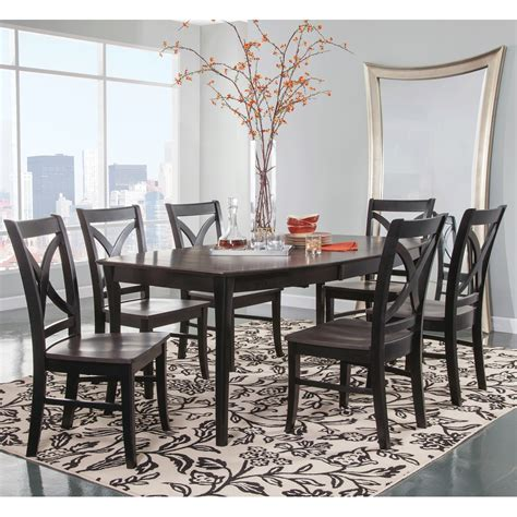 dining room table leaf cosmopolitan coal black dining room 7 piece set
