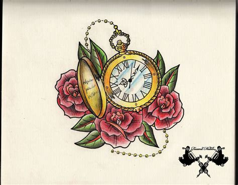 pocket watch and rose tattoo design black and grey broken pocket design