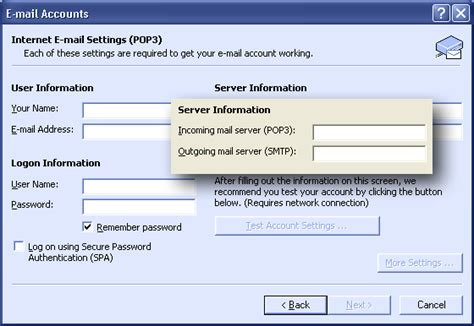 setup mail server on xp outlook xp outlook 2002 setup instructions
