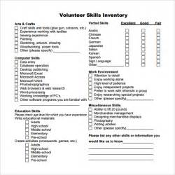 sample skills inventory template 10 free documents