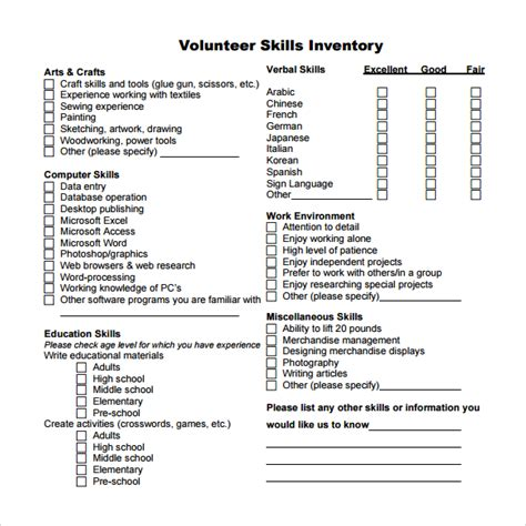 Skills Inventory Worksheet by Sle Skills Inventory Template 12 Free Documents