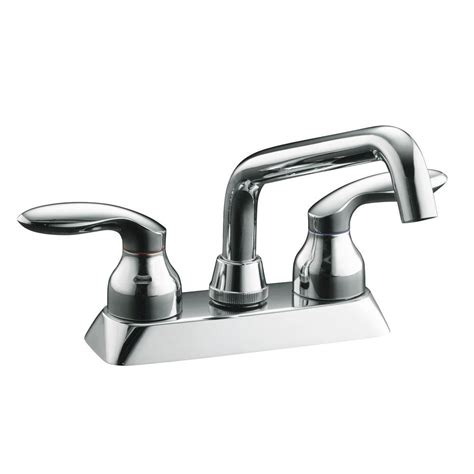 kohler coralais 4 in 2 handle low arc bathroom sink faucet in polished chrome k 15270 4 cp