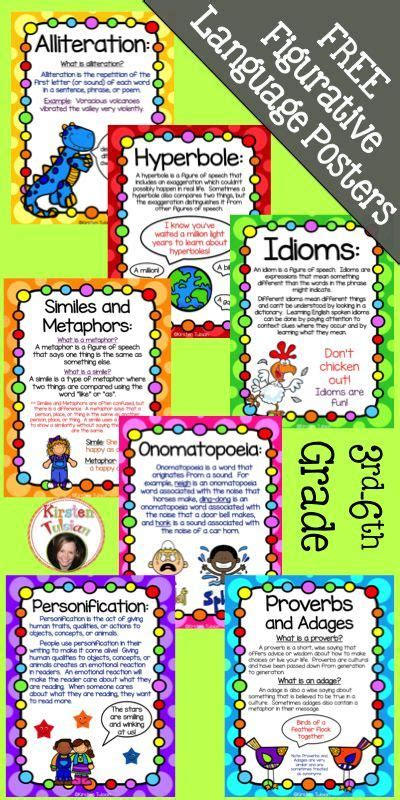 printable personification poster free figurative language poster set free posters include