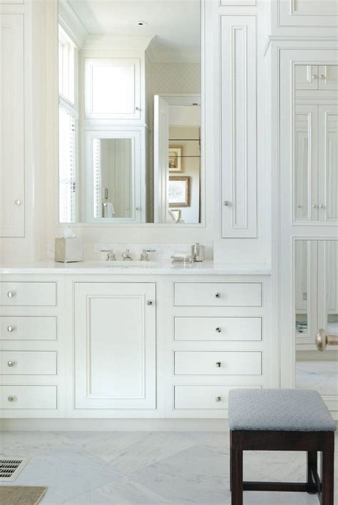 bathroom cabinets above sink like narrow cabinets built in either side of sink above