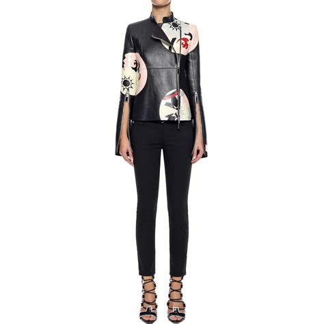 Circle Leather Jacket lyst mcqueen kansai circle print leather jacket in black