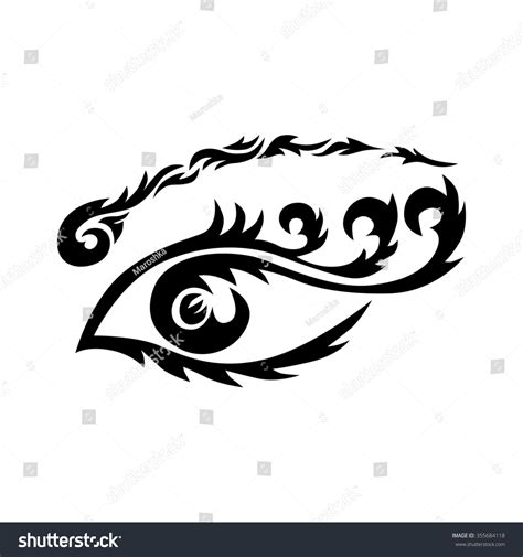 eye tribal tattoo eye maori tribal eye stock illustration