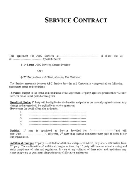Service Agreement Letter Format Service Contract Template Free Printable Documents
