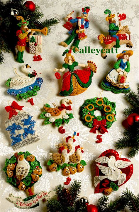 12 days of christmas bucilla felt ornament kit 86066