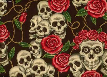 wallpaper skull flower skull roses 3d and cg abstract background wallpapers