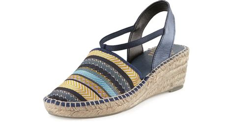 Erotokritos Blue And White Stripe Wedge by Andre Assous Helena Striped Espadrille Wedge Sandal In
