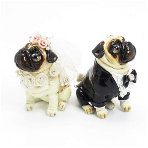 pug wedding cake topper pug wedding cake topper fawn pug pink white color figurine statue madamepomm