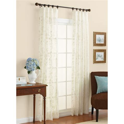 walmart sheer curtain better homes and gardens embroidered sheer curtain panel