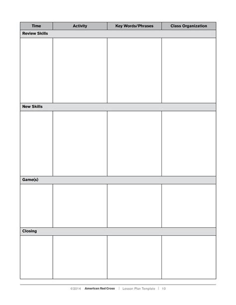 lesson plan template red cross lesson plan simplebooklet com