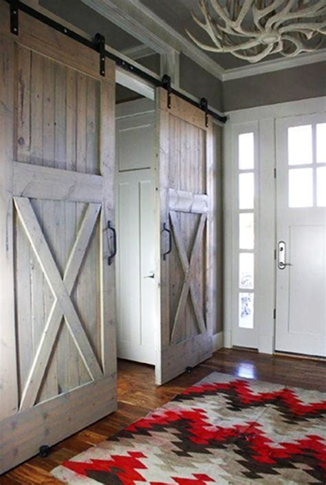 Interior Sliding Barn Door With Chevron Rug Pattern Interior Barn Doors For Homes