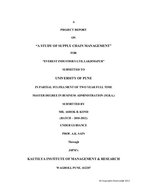 Mba Project Report On Supply Chain Management by A Project On Supply Chain Management 1