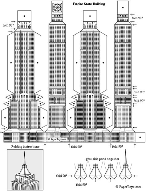 Building Papercraft - empire state building paper model free paper toys and