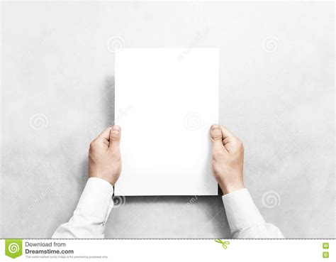 free holding page template holding white blank paper sheet mockup stock image