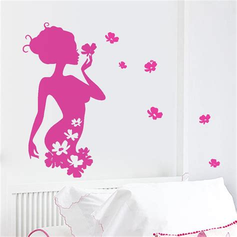 art wall decor cool and beauty with flower bedroom wall elegant beauty folra flower fairy home decor wall sticker