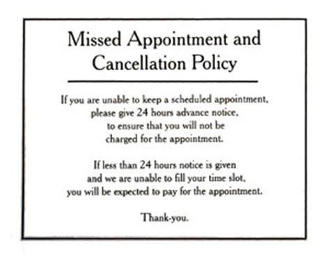 rooms to go cancellation policy missed appointment and cancellation policy sign door wall signs
