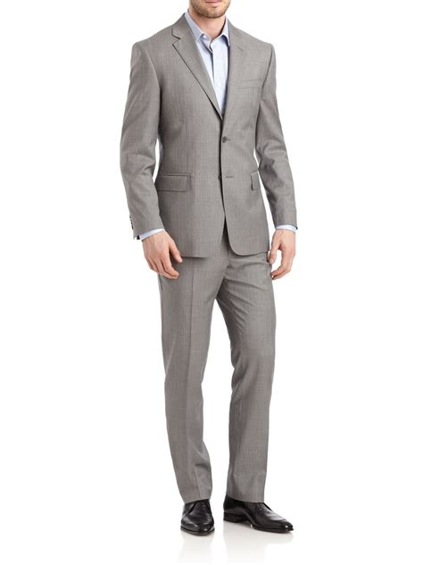 Valentino Suit valentino pinstriped twobutton wool suit in gray for
