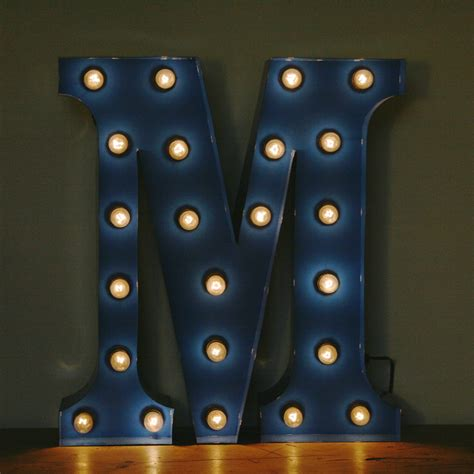Vintage Marquee Circus Light Up Letter M Blue The