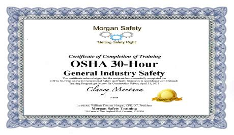 best photos of osha certificate template osha training