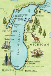 Michigan Lakes Map by Lake Michigan Map With Cities