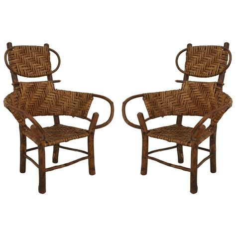 pair of american rustic hickory children s armchairs
