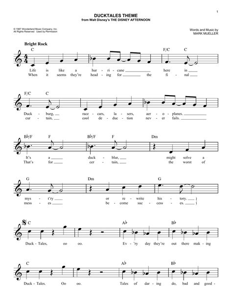 theme music chips ducktales theme sheet music direct
